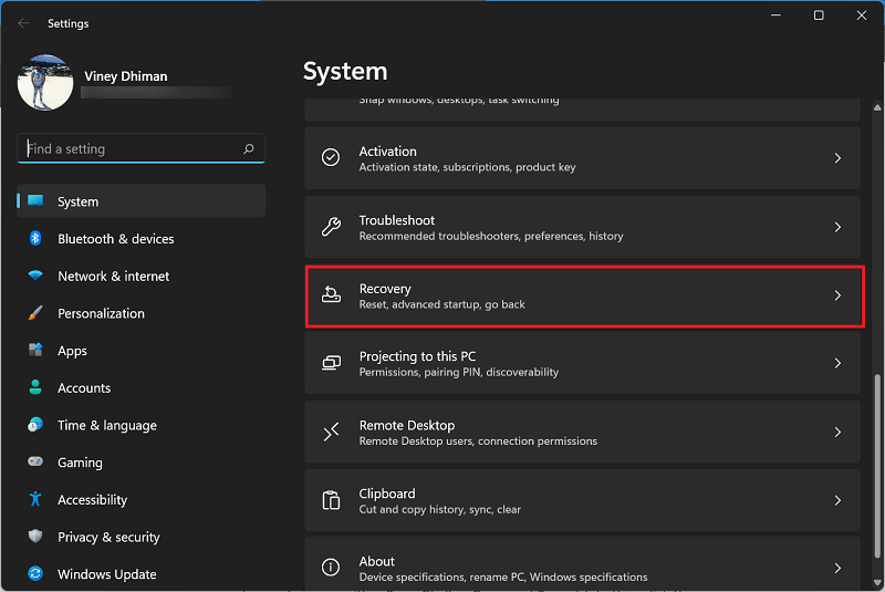 Recovery settings in Windows 11 settings app