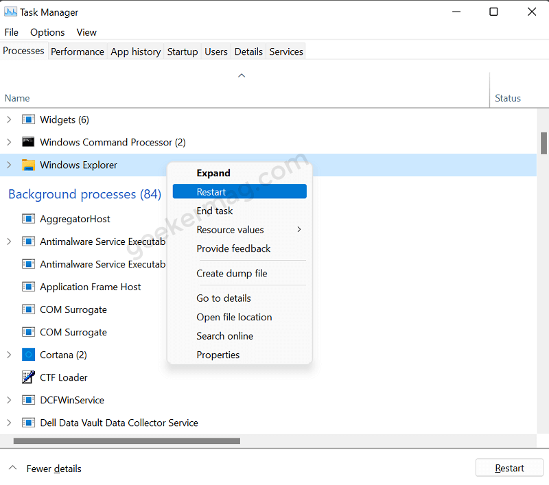 Restart Windows Explorer in Windows 11