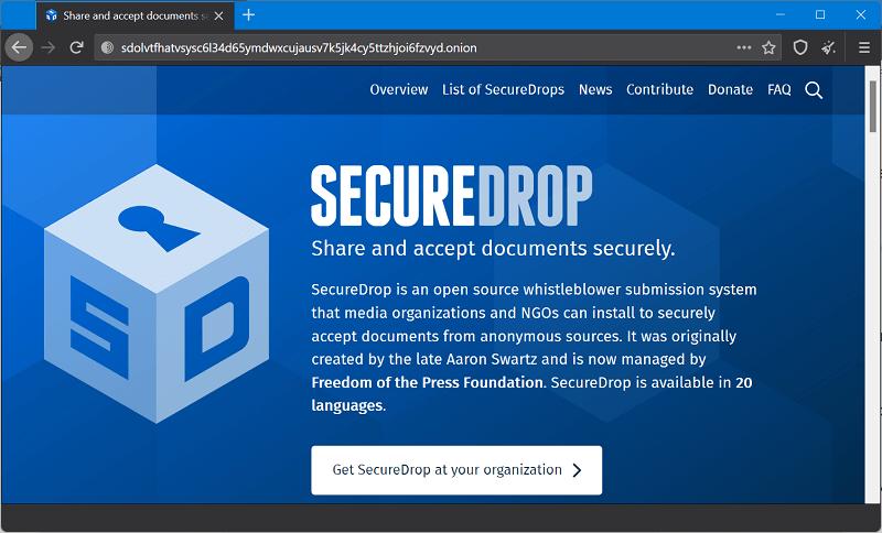 Secure Drop - Best Websites on the Dark Web (Onion Sites)
