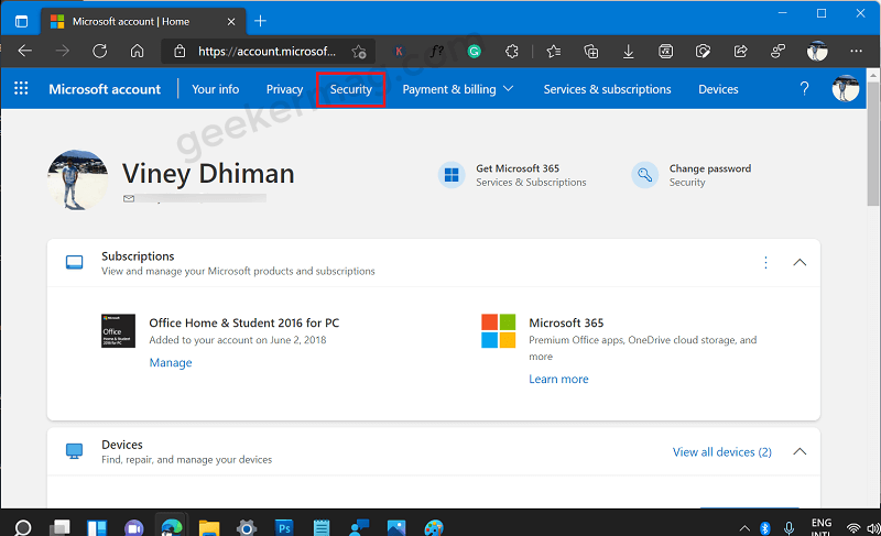 Microsoft account - security