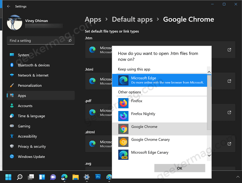 how you you want to open files from now on in Windows 11
