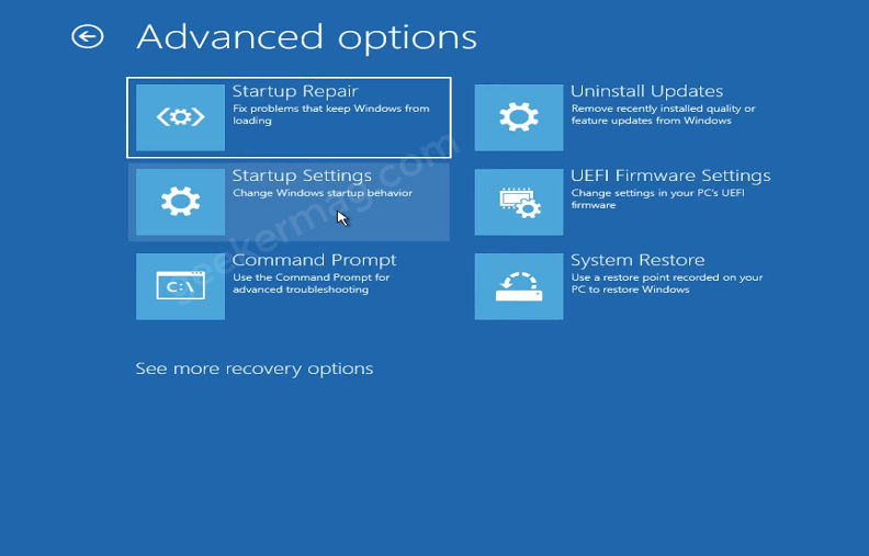 Startup settings - Windows 11 Recovery
