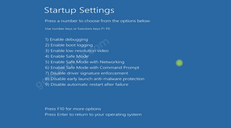 Various safe mode options - Windows 11 Recovery environment window