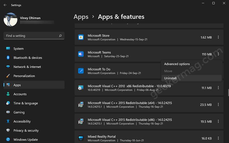 uninstall Microsoft teams app from Windows 11