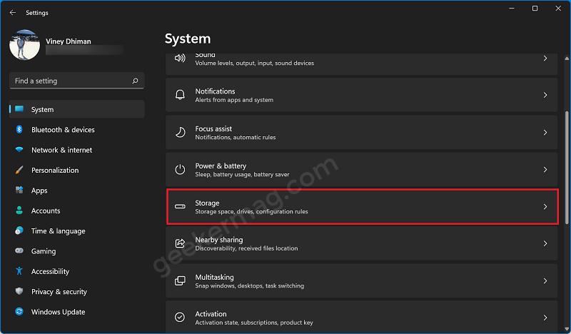 storage settings in windows 11