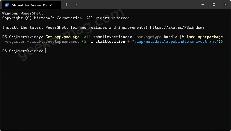 Re-register Start Menu in Windows 11