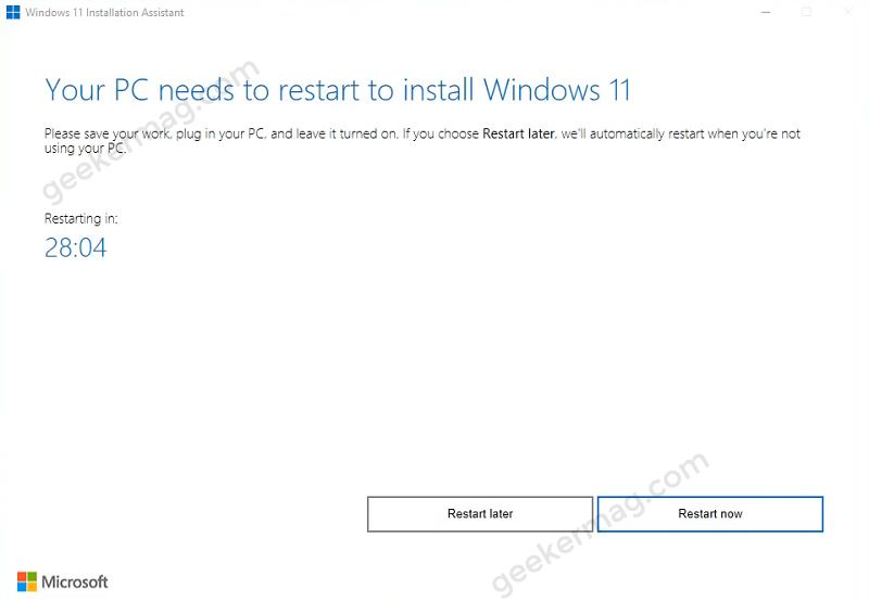 your pc need to restart to install windows 11