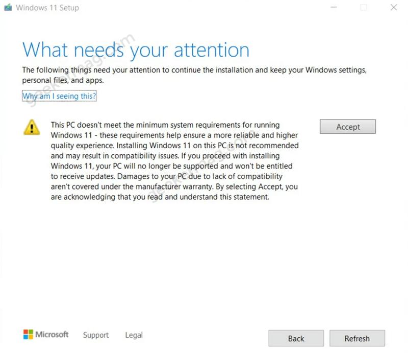 upgrade warning